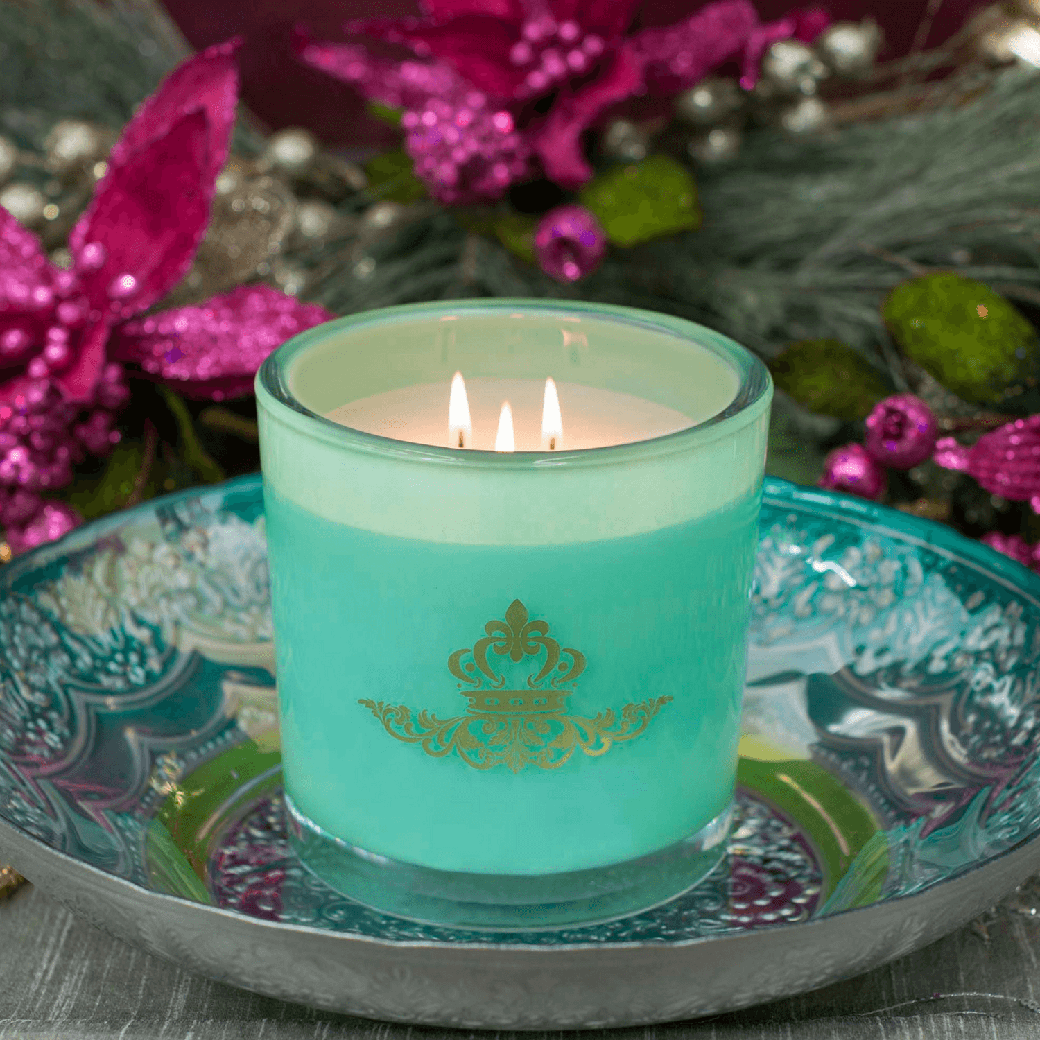 Sugared Pear Luxury 32oz Green Glass Tumbler Candle - Candlemart.com