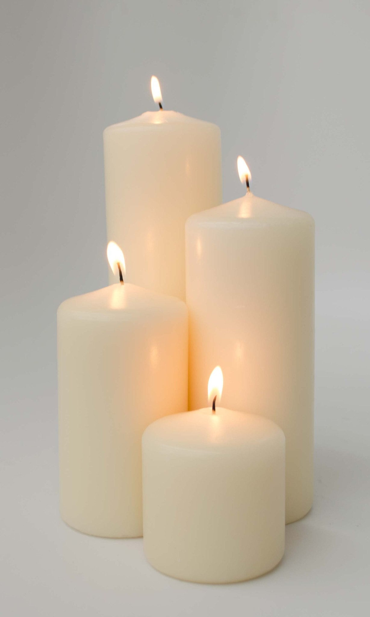 3x3 Unscented Ivory Pillar Candle - Candlemart.com - 2