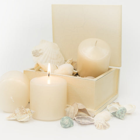 3x3 Unscented Ivory Pillar Candle - Candlemart.com