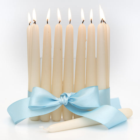 Ivory 8inch Unscented Taper Candles (Case of 12) - Candlemart.com