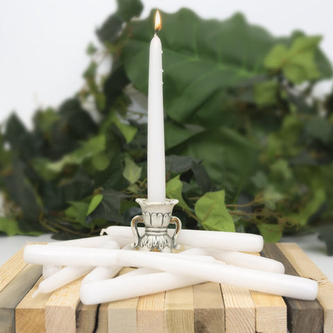 White 8inch Unscented Taper Candles (Case of 12) - Candlemart.com