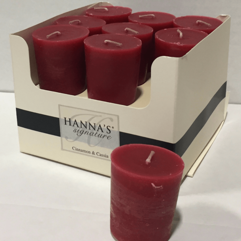 Box of 18 Cinnamon & Cassia Scented Votive Candles - Candlemart.com