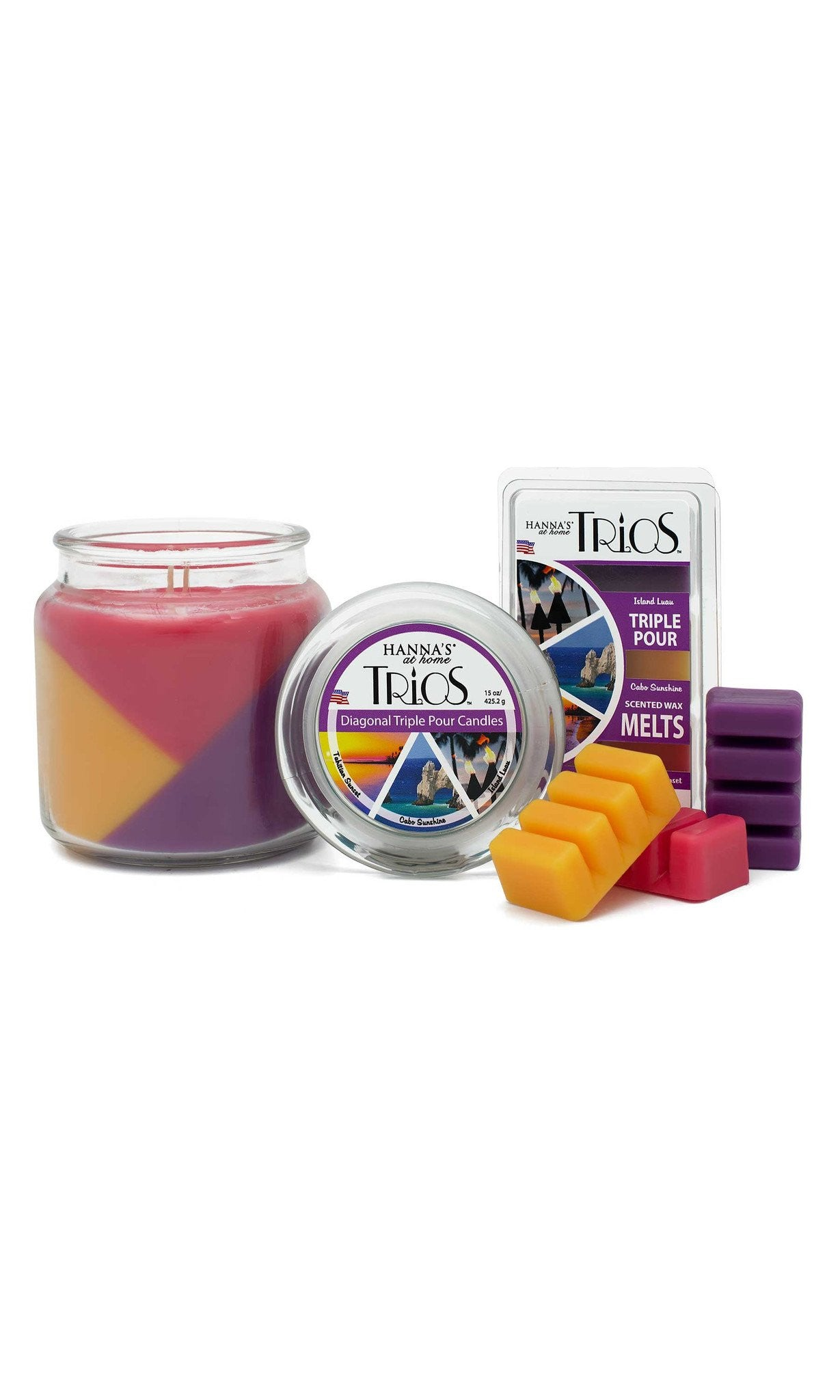 Trios Triple Pour Tahitian Sunset Scented Candle - Candlemart.com - 2
