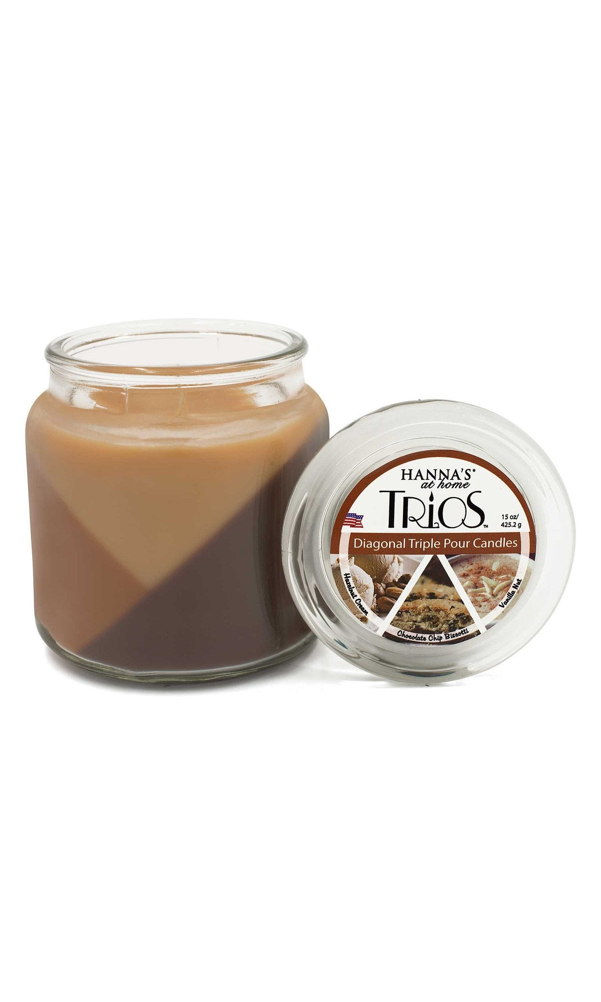 Trios Triple Pour Hazelnut Cream Scented Candle - Candlemart.com - 2