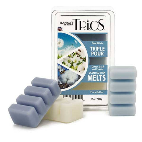 Trios Triple Pour Fresh Cotton Scented Wax Melts Melts Candlemart.com $ 1.99