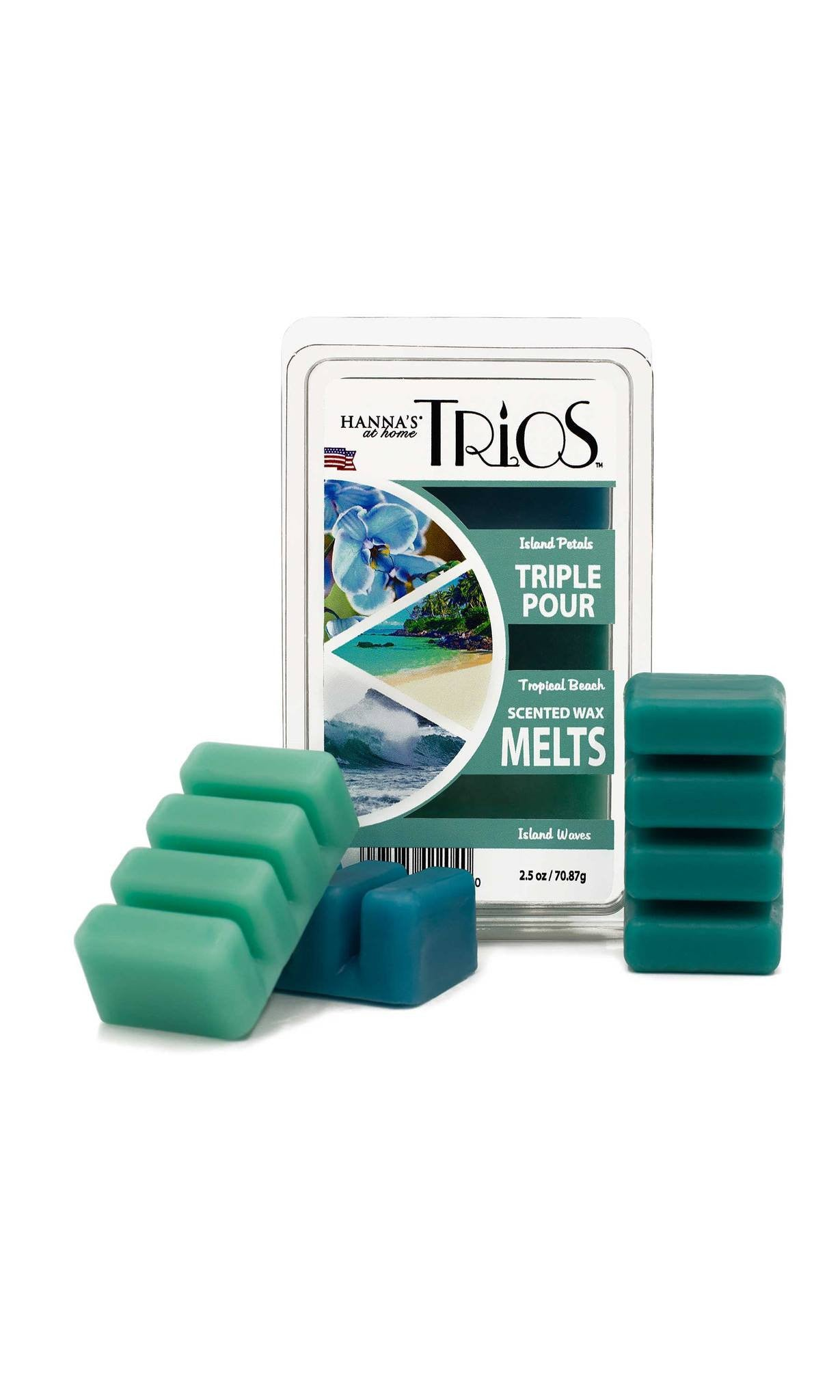 Trios Triple Pour Island Waves Scented Wax Melts - Candlemart.com