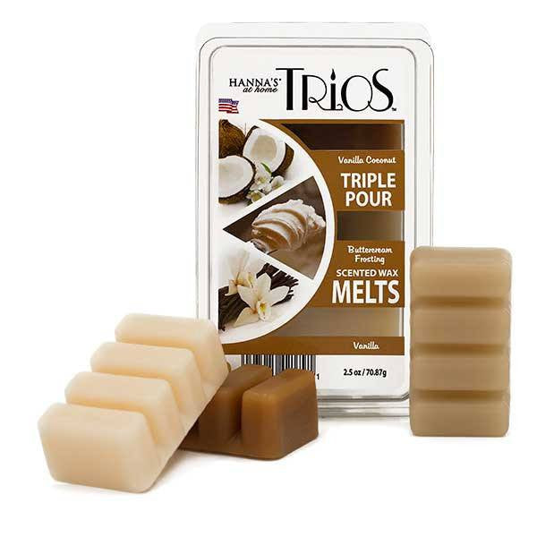 Trios Triple Pour Vanilla Scented Wax Melts - Candlemart.com