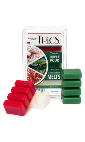 Holiday Trios Peppermint Scented Wax Melts - Candlemart.com - 1