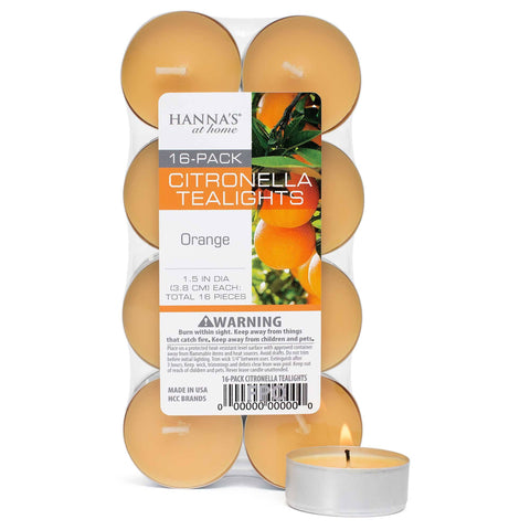 Citronella Orange Scented Tealights - Candlemart.com