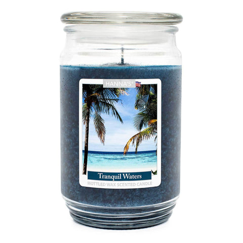 Tranquil Waters Scented Mottled Wax Candle - Candlemart.com