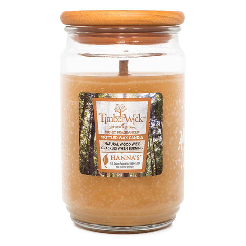 TimberWick Vanilla Brulee Scented Mottled Candle Timberwick Candlemart.com $ 14.99