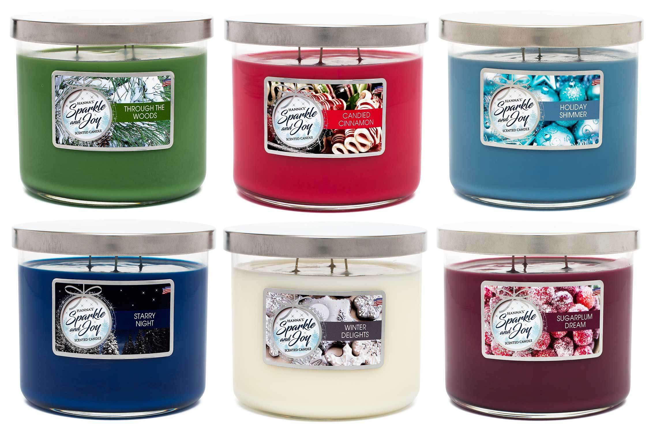 Holiday Shimmer Scented Large 3 wick Candle - Candlemart.com
