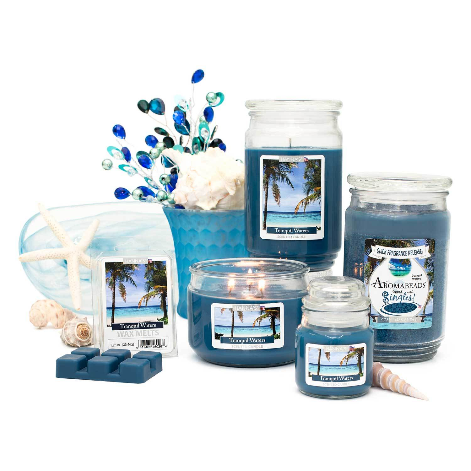 Tranquil Waters Scented 3 wick Candle Candles Candlemart.com $ 7.99