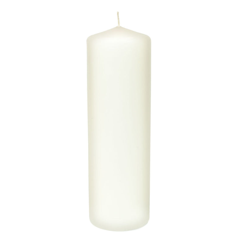 3x9 Unscented White Pillar Candle