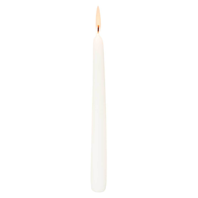 White 10inch Unscented Taper Candles (Case of 12)