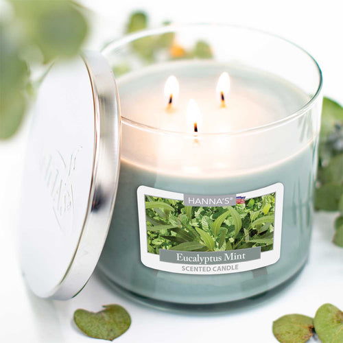 Eucalyptus Mint Scented Large 3 wick Candle