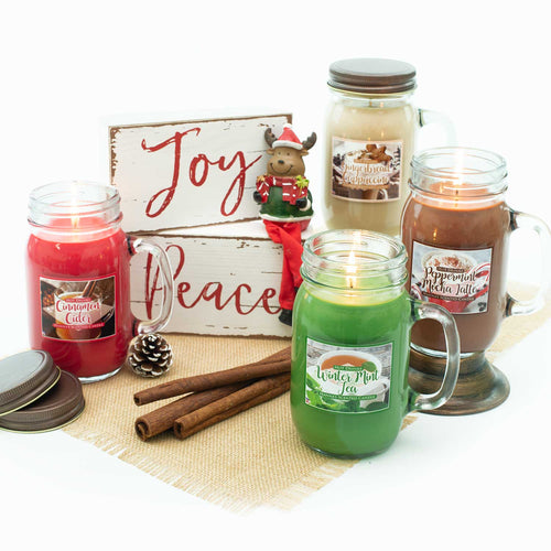 Peppermint Mocha Latte Scented Pint Jar Candle