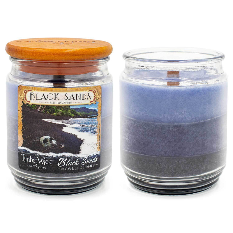 TimberWick Black Sands Scented Mottled Candle