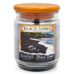 TimberWick Black Sands Scented Mottled Candle Timberwick Candlemart.com $ 12.99