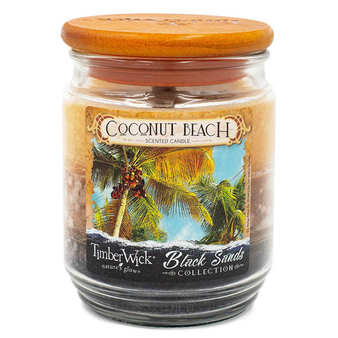 TimberWick Coconut Beach Scented Mottled Candle
