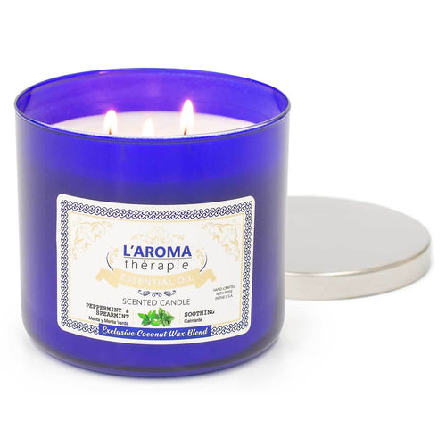 Peppermint Spearmint Essential Oil 3 wick Candle