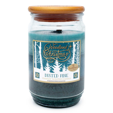 TimberWick Dusted Pine Scented Mottled Candle Timberwick Candlemart.com $ 14.99