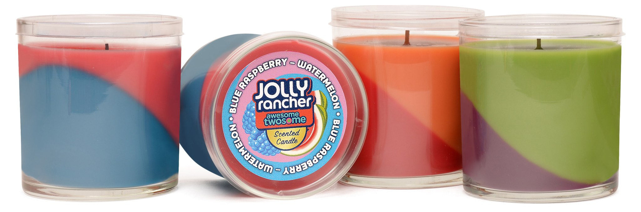 Jolly Rancher Awesome Twosome Grape-Green Apple Scented Diagonal Candle - Candlemart.com - 2