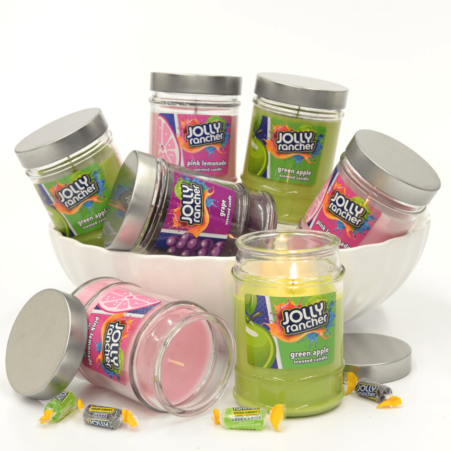 Jolly Rancher Pink Lemonade Scented Canister Jar Candle Candles Candlemart.com $ 5.99