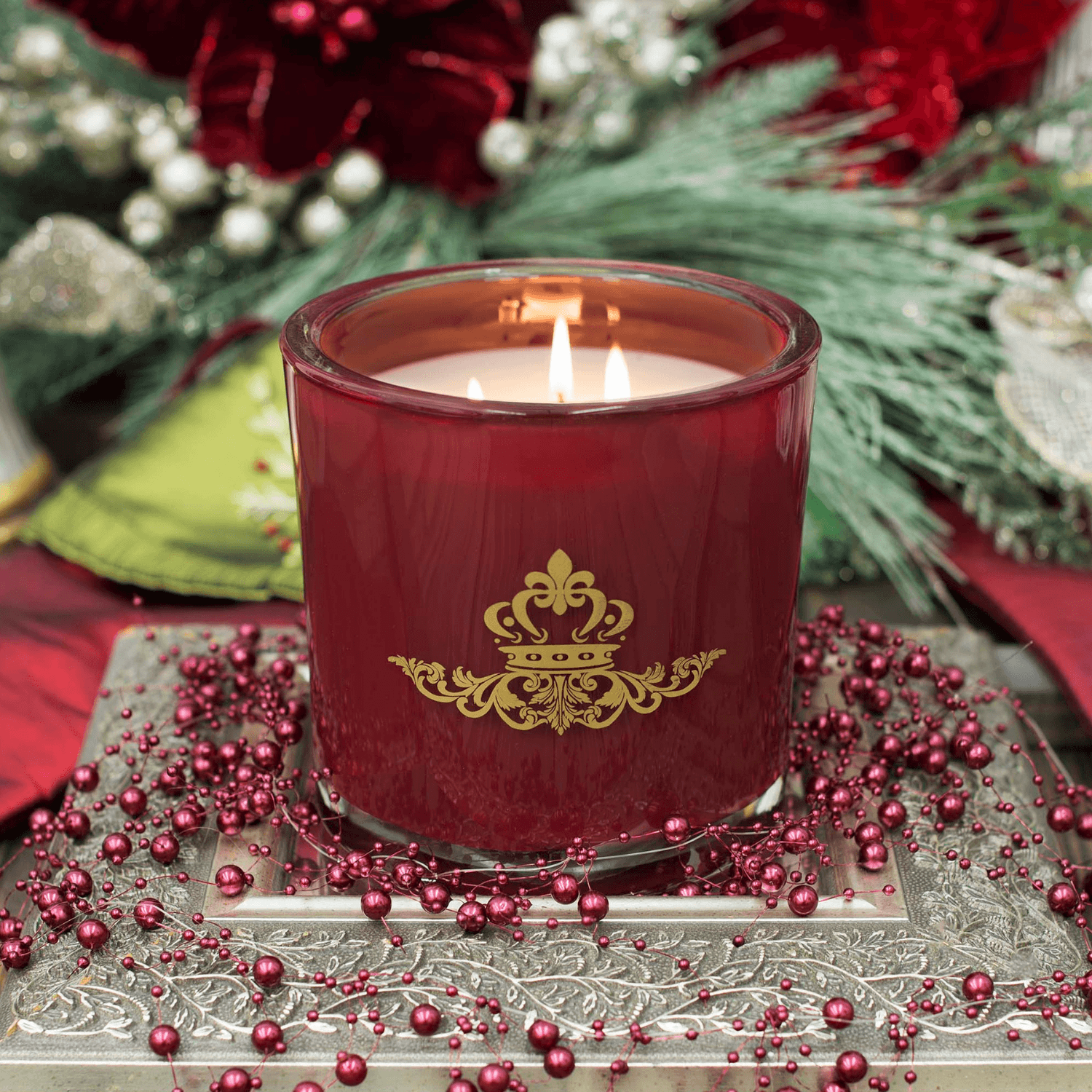 Bourbon Street Blues Luxury 32oz Burgundy Glass Tumbler Candle Luxury Candles Candlemart.com $ 19.99