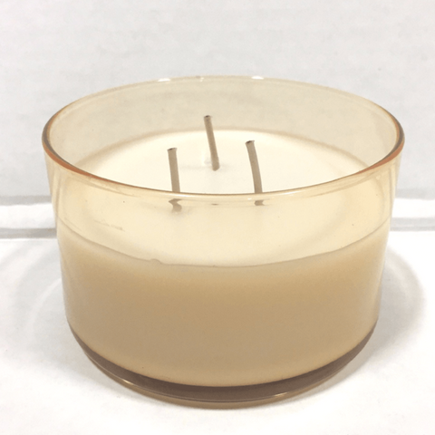 Amber Glass Bowl 3 Wick Spun Sugar Scented Candle - Candlemart.com