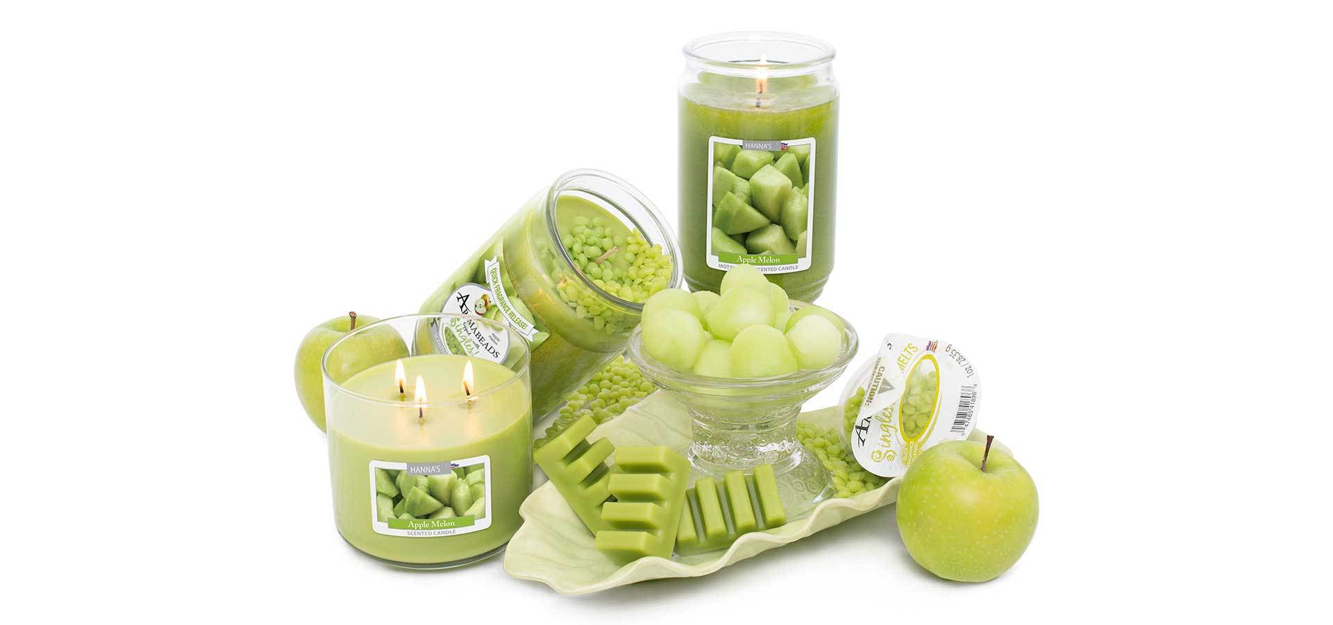 apple melon scented candles and melts