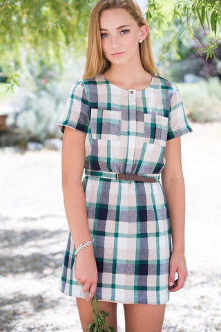 belted plaid dress