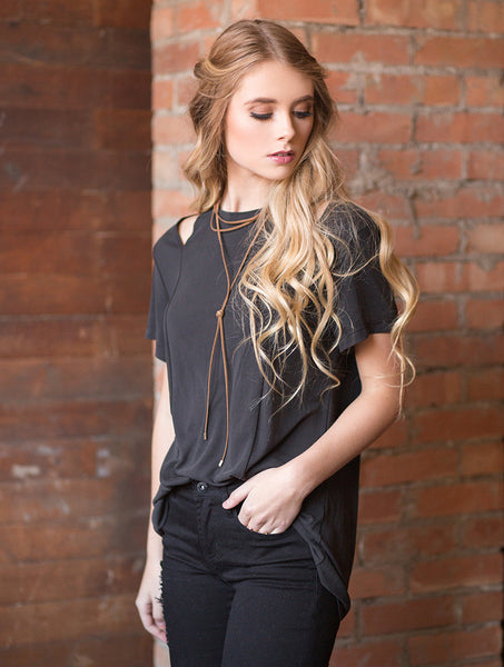 Shoulder Cut Out Tee - Black