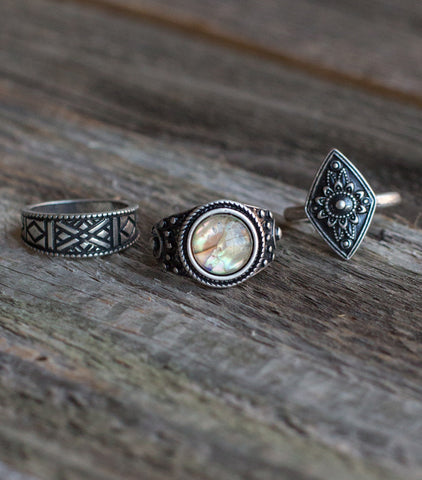 Abalone Stone Ring Set