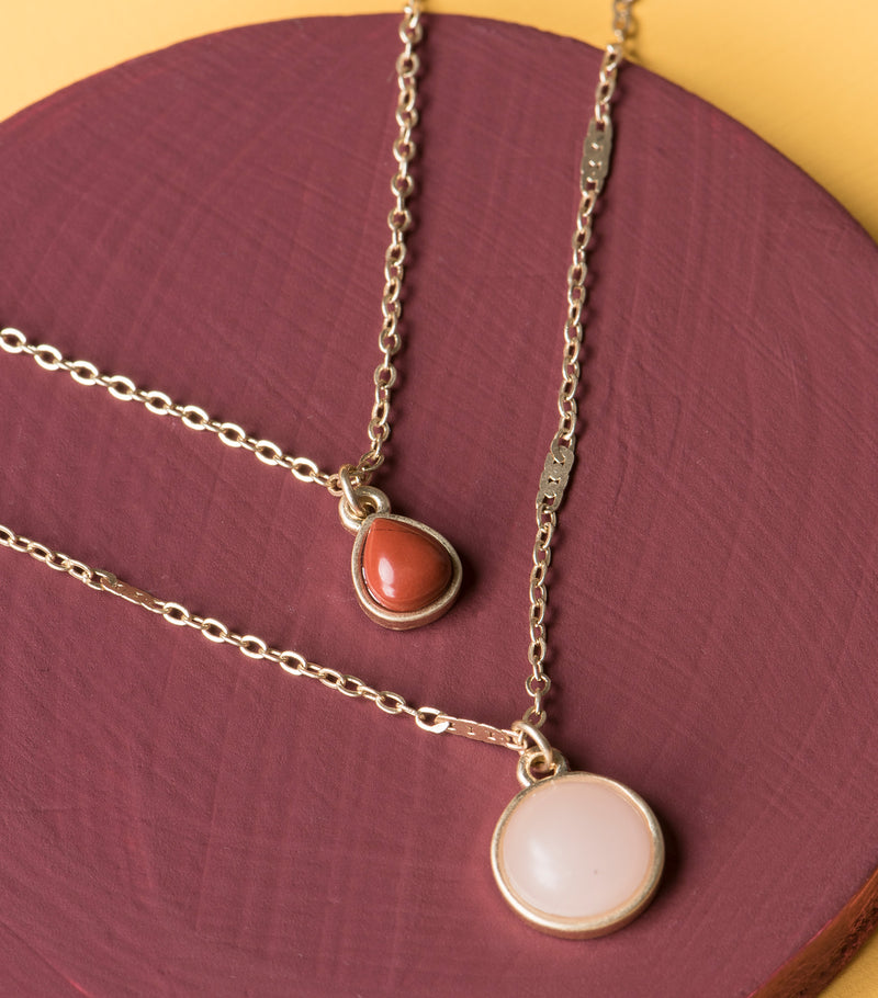 Semi-precious Stone 2PC Necklace Set