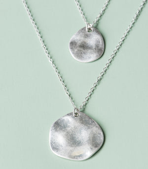 Hammered Coin Double Strand Necklace