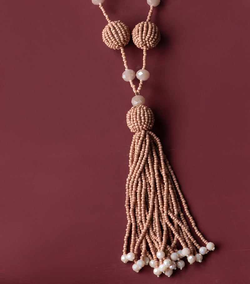 Rose Taupe Tassel Necklace