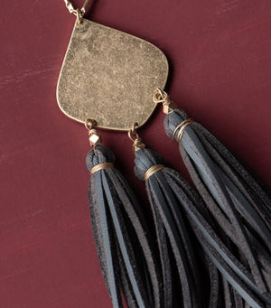 Charcoal Tassel Necklace