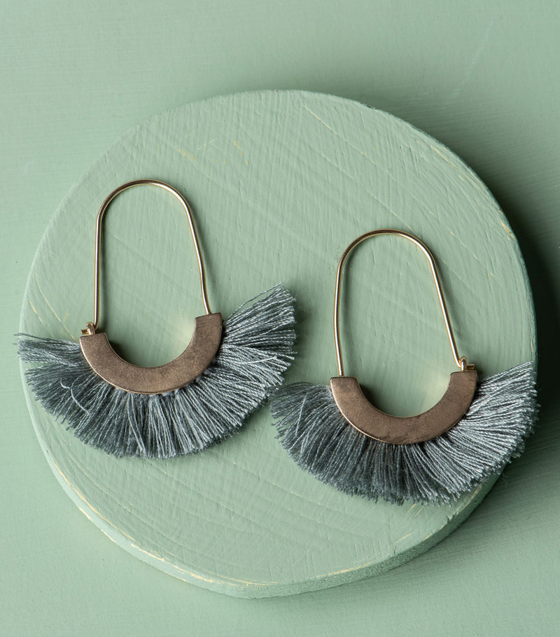 Touch of Fringe Earrings-Grey