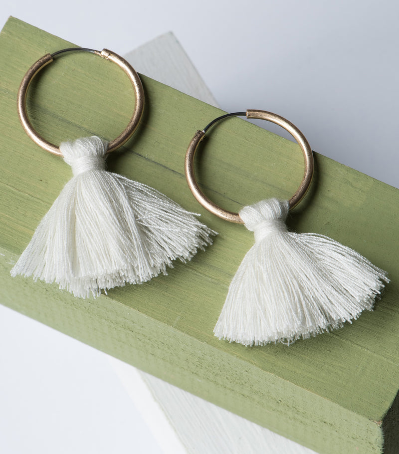 Tassel Queen Earrings- Egret