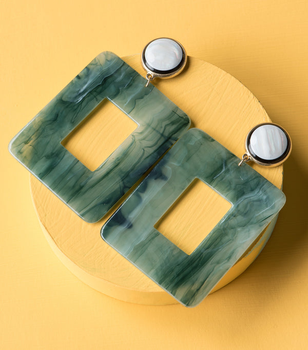 Marbled Square Earrings