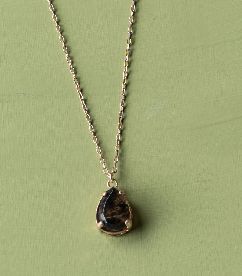 Solitary Stone Pendant- Tear Drop