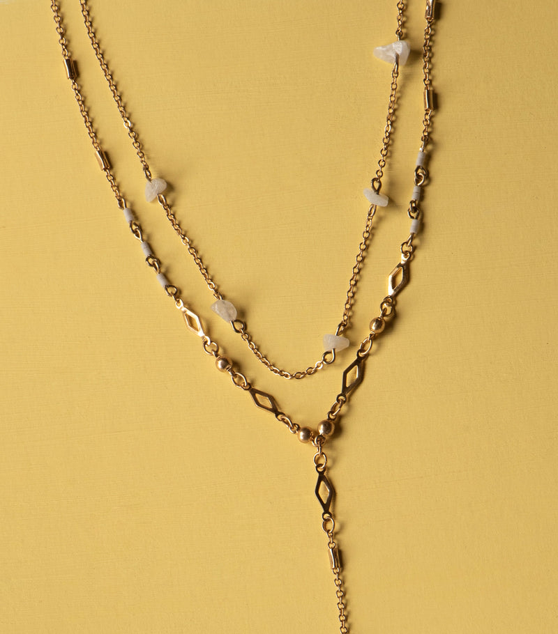 Crystal Y-chain Necklace