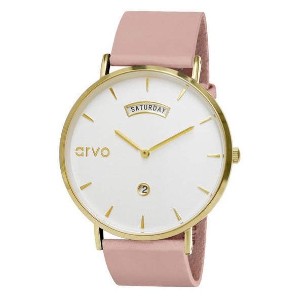 The Awristacrat | Gold - Blush Leather Band 40mm