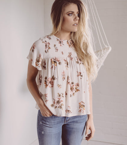 Floral Frenzy Blouse - Ivory