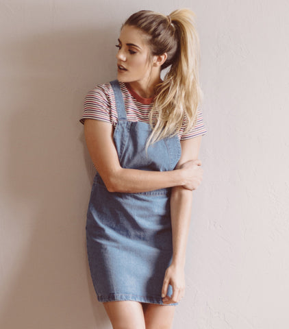 Denim Overall Dress - Light Denim