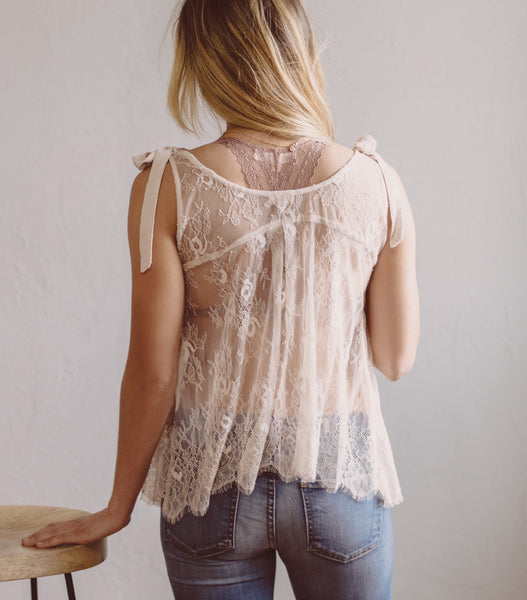 Laced Tie Shoulder Top - Blush