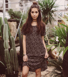 Spring Blossom Shift Dress - Black
