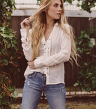 Lace Up Blouse - Off White