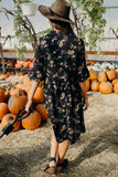 Floral Bell Sleeve Dress-Black